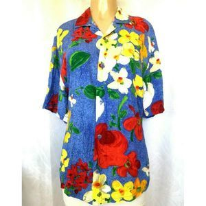 Jams World Delight Floral Button Down Shirt Top M